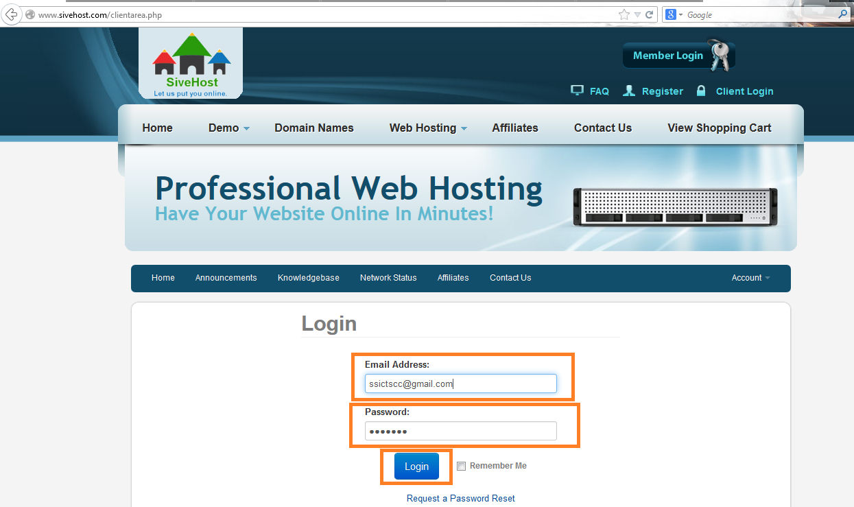 New SiveHost SignIN Page